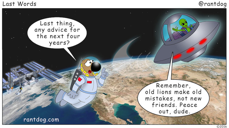 Rantdog Comic Alien UFO Advice Old Lions