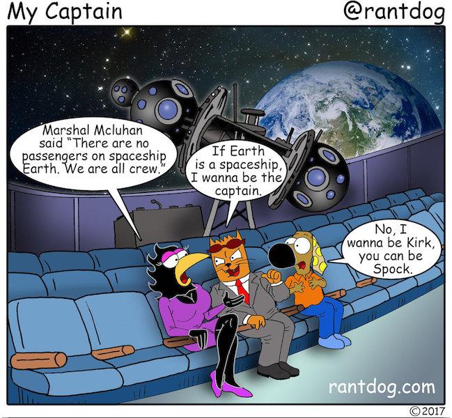 Rantdog Comic Marshall McLuhan Space Captain Kirk Spock