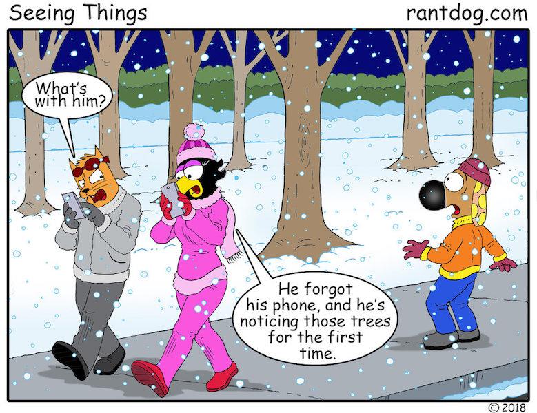 Rantdog Comics Winter Trees Phone
