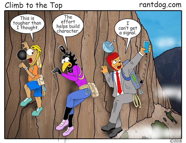Rantdog Comics Rock climbing phone signal