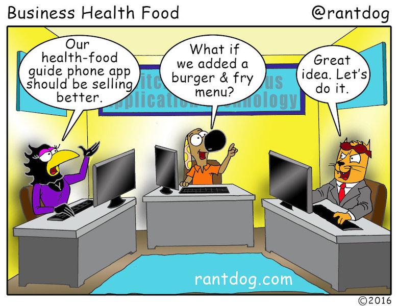 Rantdog Comics Health food App Junk food