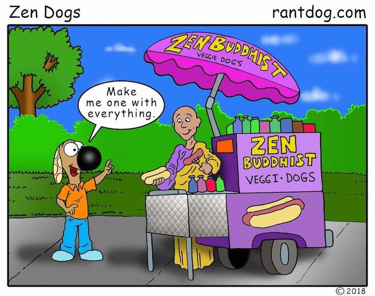 Rantdog Comics Zen Buddhist Hot dogs