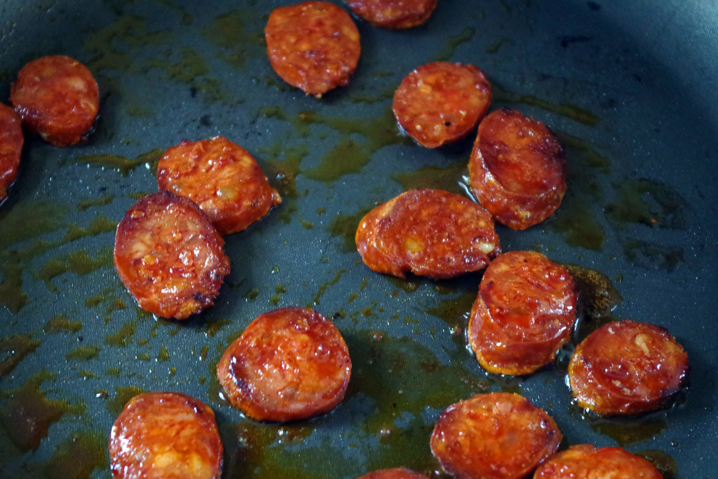 3 Frying Chorizo Closeup