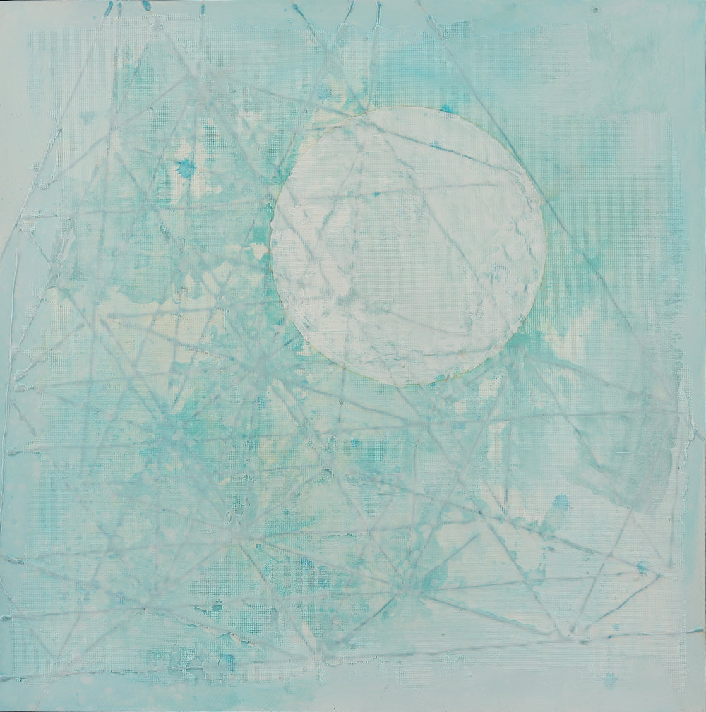 momentum #53, 24x24,acrylics, paper , 2017