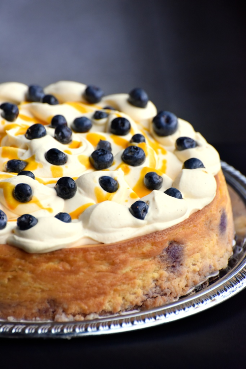 MANGO AND BLUEBERRY CHEESECAKE