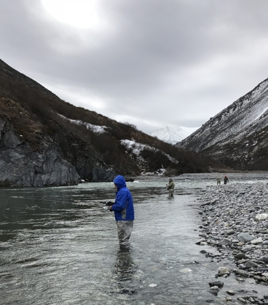 Fishing for Arctic Char and Dolly Varden on the Kongakut River in June.