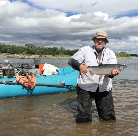 On the Kwethluk River with Ralph Fisher in Late July.