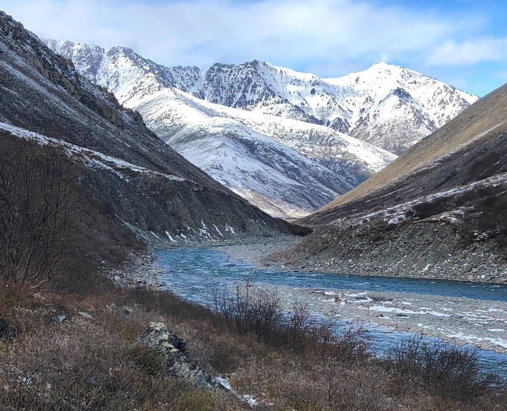 We woke up to snow, and then went for a day hike along the canyon to view the upcoming rapid section on the Kongakut River.
