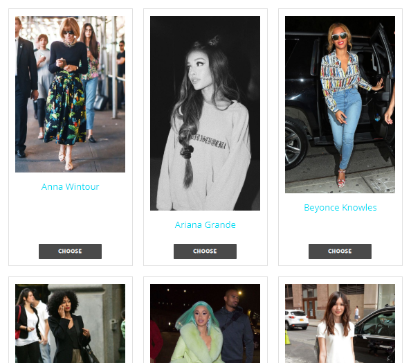 A view of some of the celebrity styles from our questionnaire.