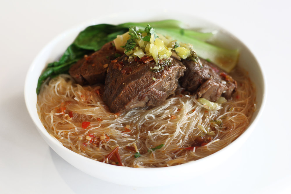 Beef Noodle Soup is a Taiwanese classic. Delicious chunks of marbled beef are stewed until tender and top off a hearty bowl of beef noodle soup w/ seasonal vegetables.