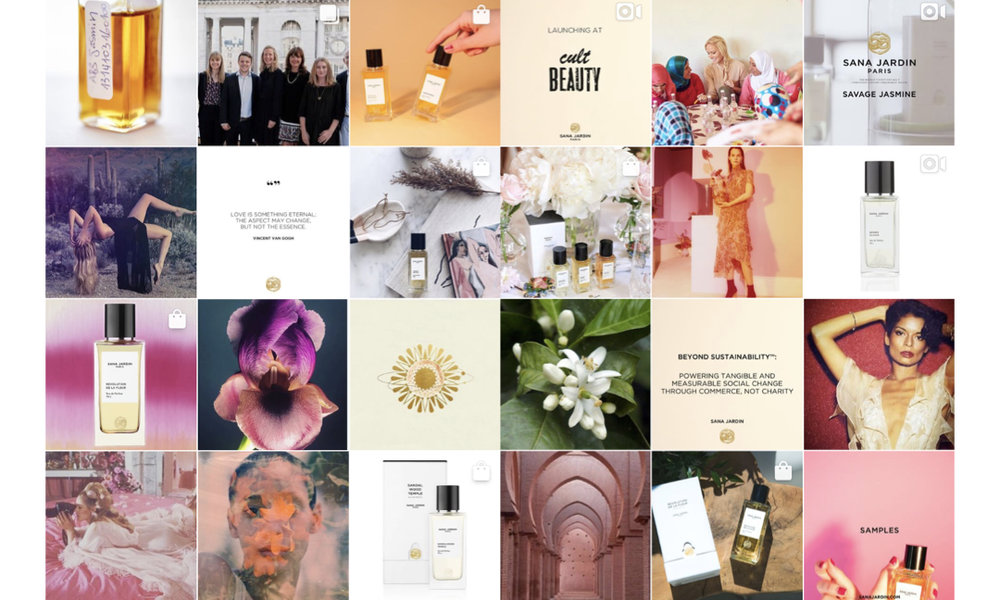 Sana Jardin Instagram re-brand to include UGC, branded announcements and quotes, product photography, curated lifestyle imagery, GIFs and video.