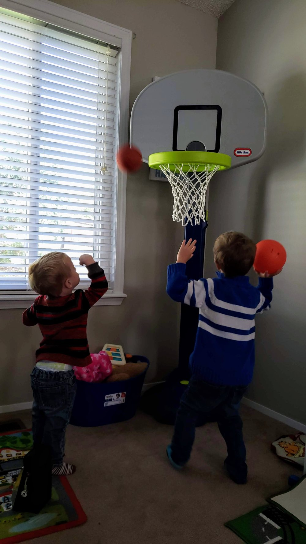 Most of the time, the playroom is a basketball court. #boyswillbeboys   Basketball hoop