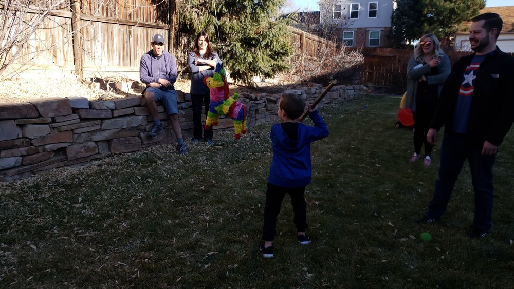 What's a great party without a colorful piñata (Mexico/North America)? We filled the piñata with little flag fans (Oriental Trading), flag bouncy balls (also OT), globe balls (Dollar Tree), glow-in-the-dark planes (DT), and a few other world-themed toys from Dollar Tree.