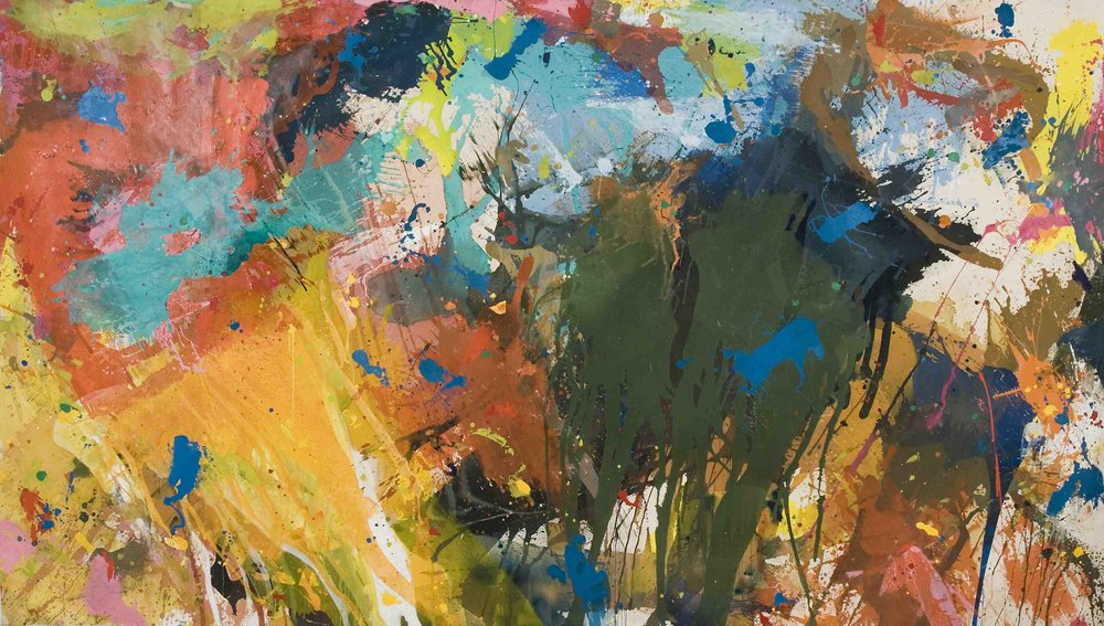 October Fields , 1976, acrylic and enamel on cotton duck, 272 x 482 cm.