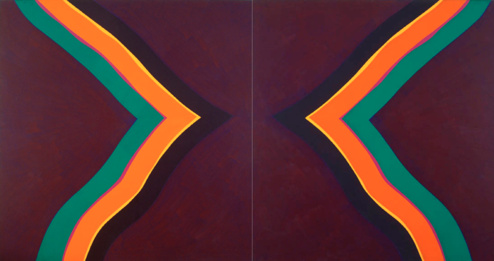 Mistra Cross , 1966-1967, synthetic polymer paint on canvas, 182 x 340 cm.