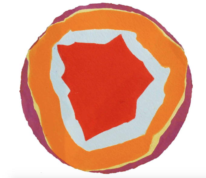 Lumina IX , 2010, acrylic on handmade paper, 31 cm (diameter)