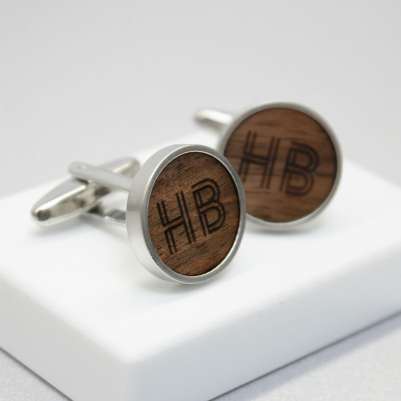 Geometric Initial Walnut Wood Cufflinks.jpg