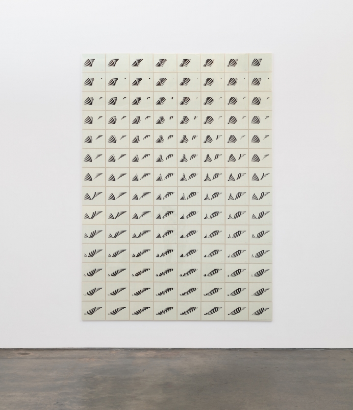 "Channa Horwitz, ""Variation and Inversion on a Rhythm IV"" (1976), black ink on green graph paper, 112 elements, each: 8.5 x 10.75 inches. Photo courtesy of Hyperallergic."