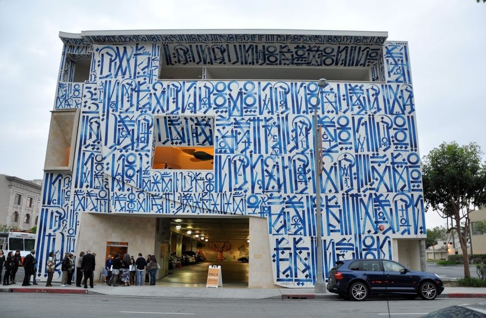 The Pasadena Museum of California Art. Mural by RETNA for  Street Cred: Graffiti Art from Concrete to Canvas.
