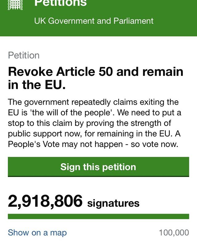 If you are in any way concerned that we are going in the wrong direction, feel that we may have been misled over what BREXIT means, are concerned that May's deal is as bad as our elected representatives clearly do, or fear that BREXIT may represent an irreversible additional step towards an ugly populism taking hold then sign the petition and march tomorrow.