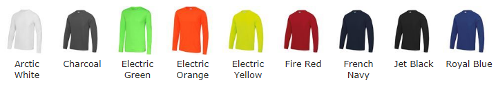 Colours for Long Sleeve T-shirt