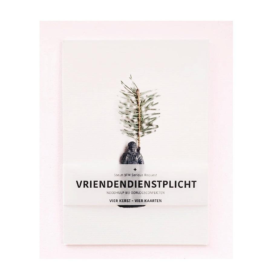 Vier Kerst - Vier Kaarten - Vriendendienstplicht - Bestel een set kaarten en steun Serious Request, de Lifeline met Noodhulp bij Oorlogsconflicten