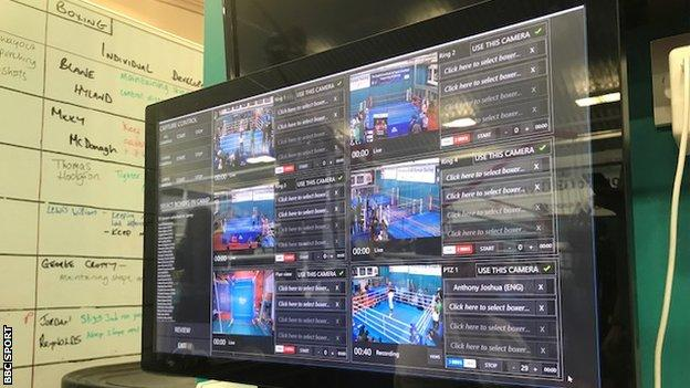 Software at the English Institute of Sport allows the ring Joshua trains in to be filmed from multiple angles