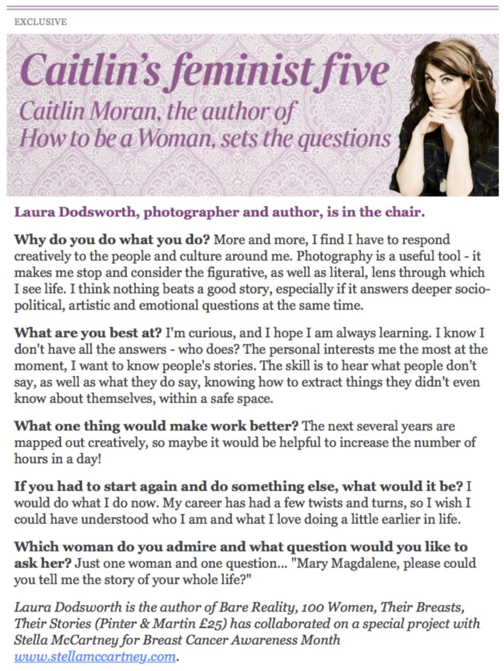 Interview with Caitlin Moran for The Times