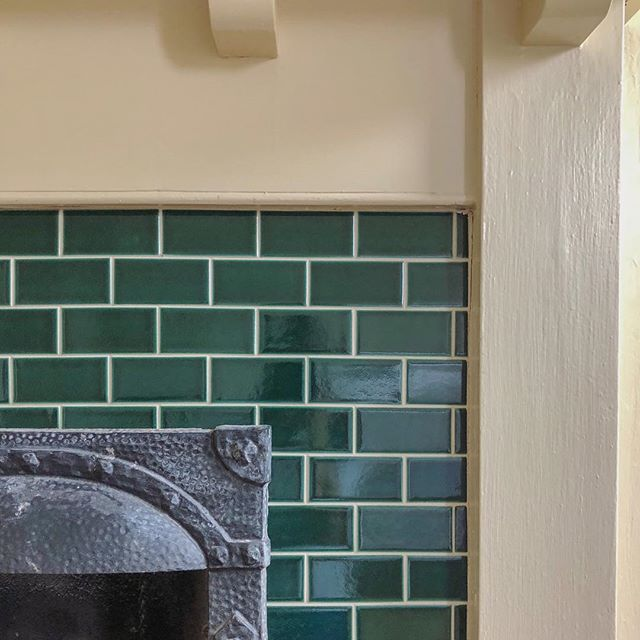 Old fireplaces with colorful tile. ✨