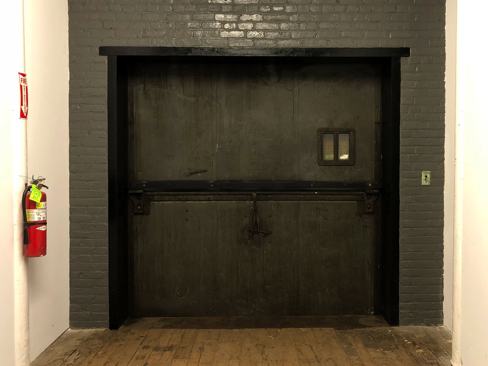 Freight elevator across from studio