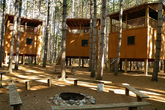 Tower Village - - Four tower cabins each house two bunk-beds and are topped with lookout decks- Located in a pine forest