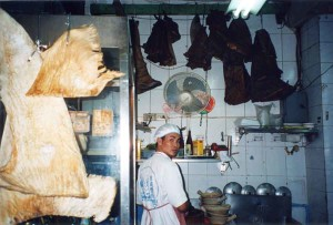 Whale shark and basking shark fins in a Bangkok restaurant kitchen