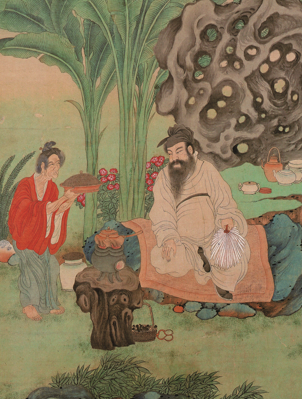 Yixing Ceramics - Illustration of Kangxi Emperor drinking tea Ming Dynasty