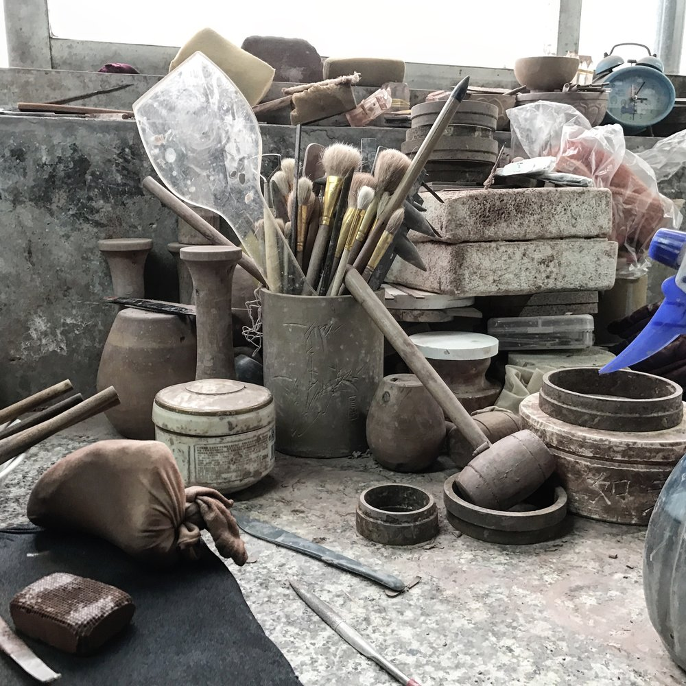 Yixing Ceramics - Photograph of ceramic work bench - Yixing