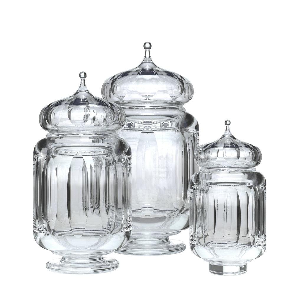 Kusmi Tea - Rendering of crystal tea caddies