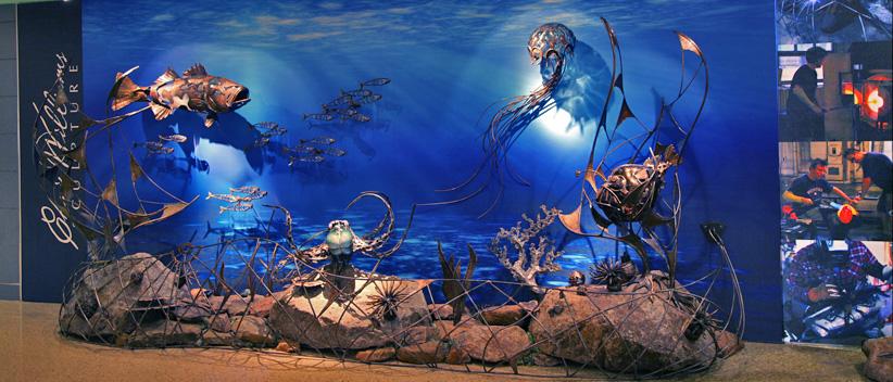 Marine fish sculpture, Chris Williams Marine life sculpture, octopus sculpture, glass and bronze sculpture, Boston logan international airport