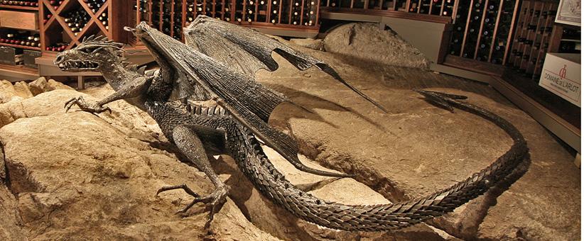 Wine cellar dragon, chris williams sculpture, chris williams dragons, dragon slayer, Game of thrones dragon