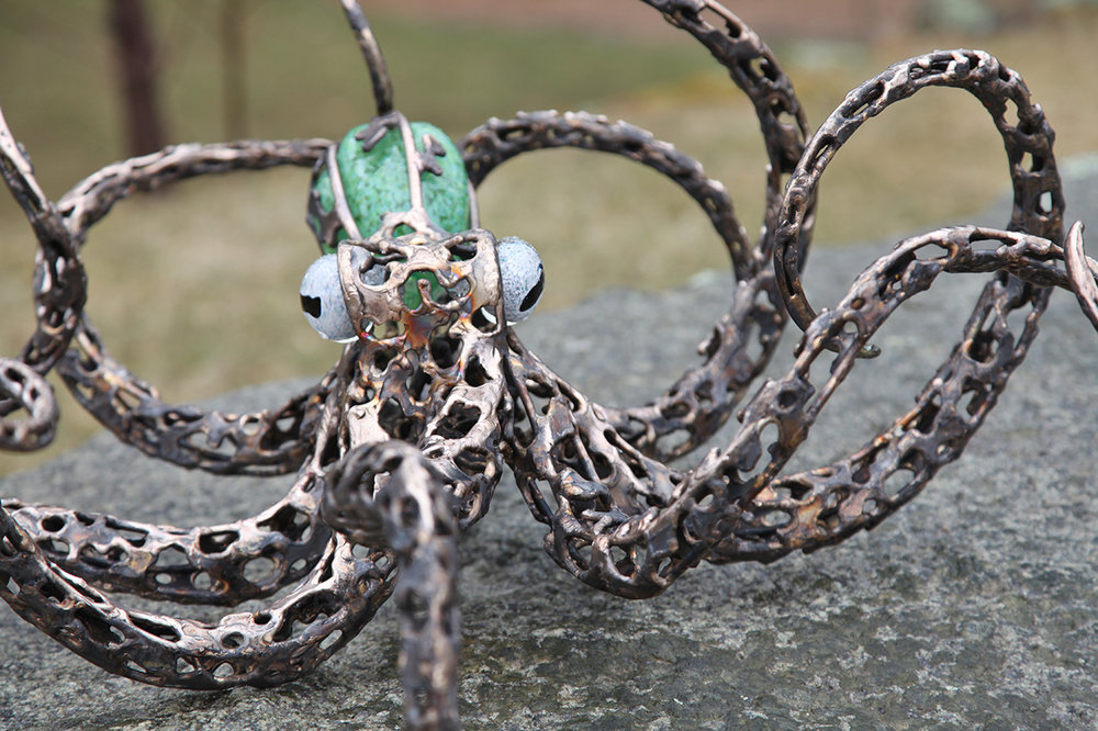 Jade octopus by Chris Williams.jpg, octopus sculpture, bronze and glass sculpture, marinelife