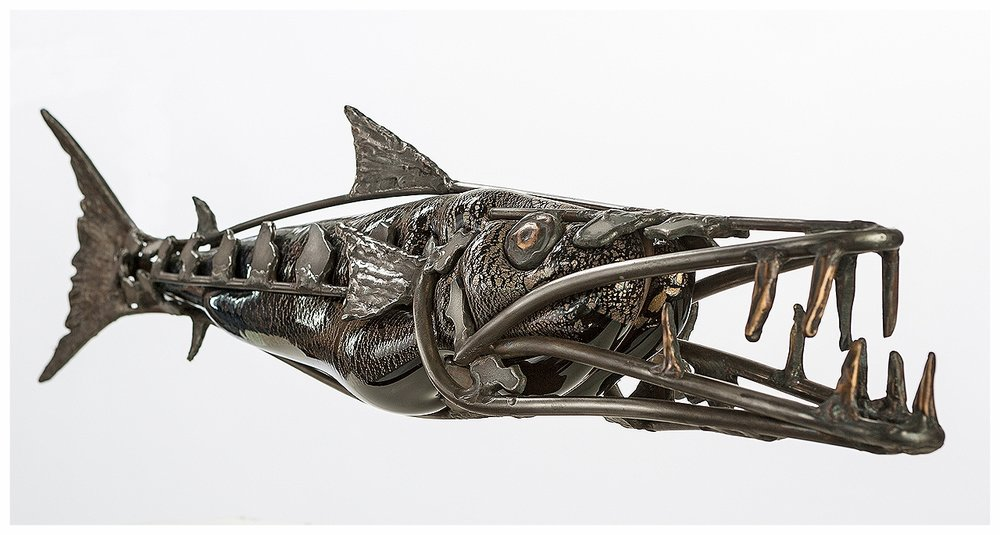 WilliamsBarracuda05.jpg, barracuda sculpture, marinelife sculpture, fish sculpture, glass and bronze sculpture