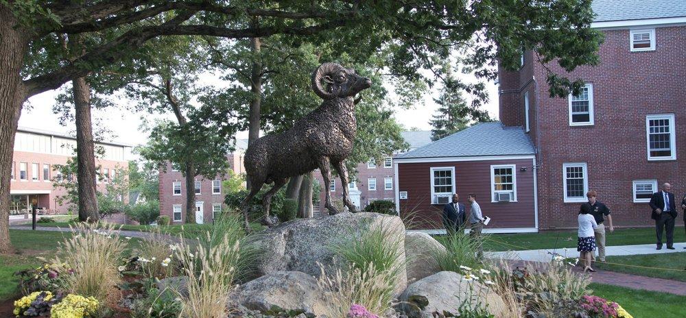 Ram Sculpture by Chris Williams, Framingham State Ram, mascot statues, mascot sculptures