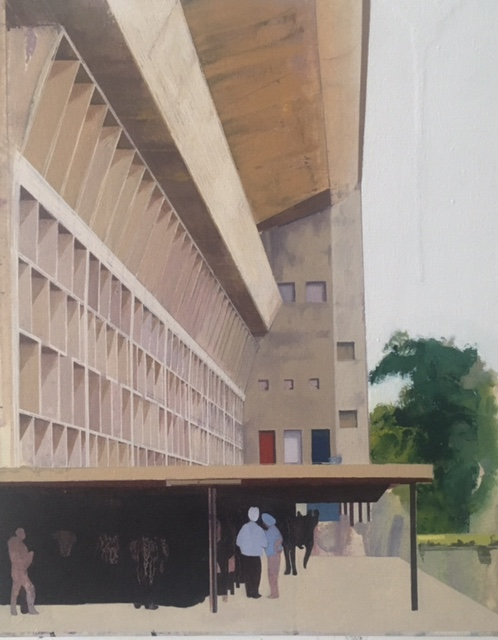 Le Corbusier Chandigarh Eight  41 x 51cm oil on canvas 2014