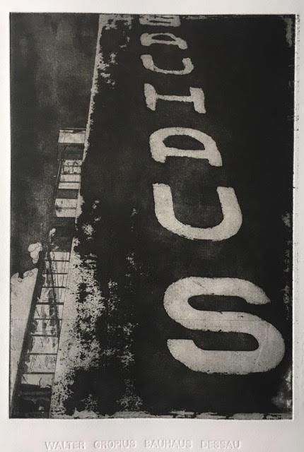 Walter Gropius Bauhaus Dessau  40 x 60cm aquatint Somerset paper 2016