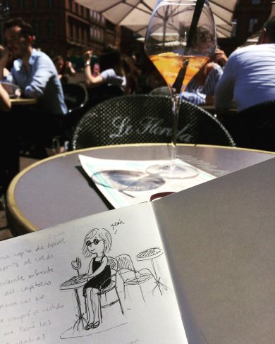 Lovely weather, my sketchbook and a refreshing spritz… happiness in a nutshell