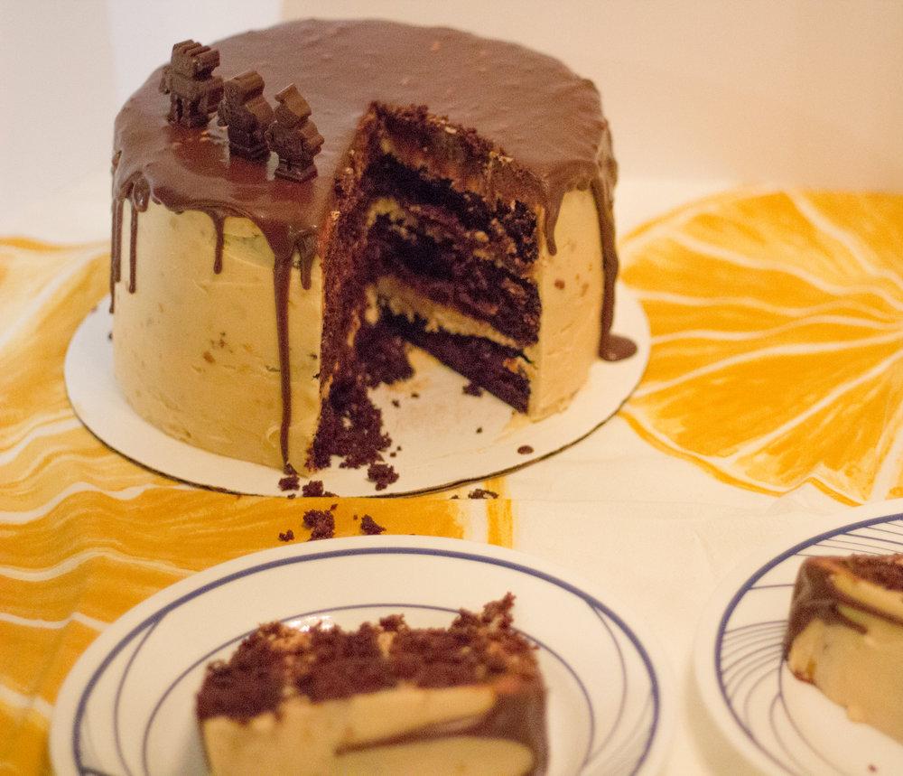 sliced pb chocolate cake