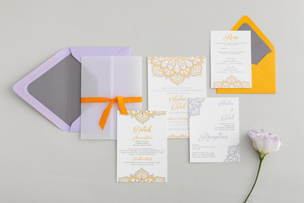 Jasmine Collection - Intricate and vibrant, the Jasmine Collection combines traditional cultural patterns with modern designs. Artistic and colorful, these invitations reflect the elaborate elegance of your wedding celebration.
