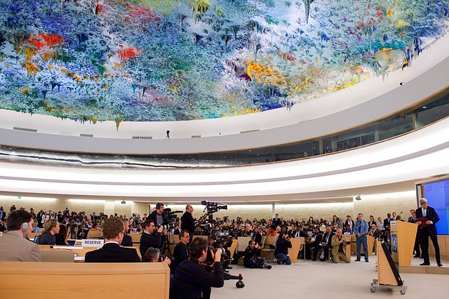 The UN Human Rights Council Chamber in Switzerland, by  U.S. Department of State .  Public Domain .