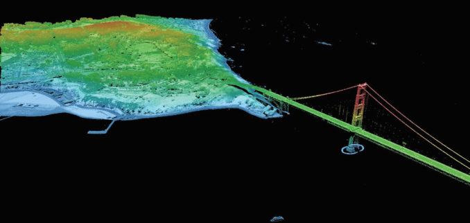 A LIDAR image of San Francisco. LIDAR is one of the technologies behind autonomous vehicles, allowing map-making using laser pulses to create maps of their surroundings. Source: GIS