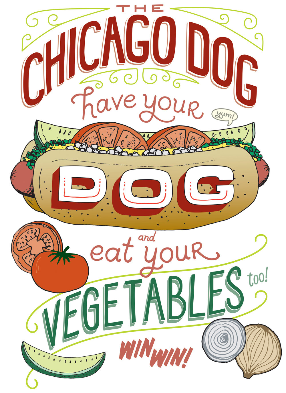 Chicago Hot Dog Lettering and Illustration