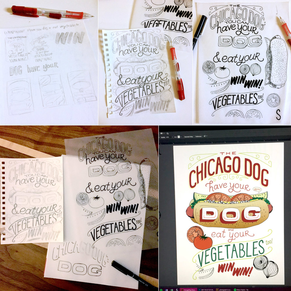 Process shots… sketches, inked elements (separate to be pieced together on the computer), and screen shot of in-process Adobe Illustrator.