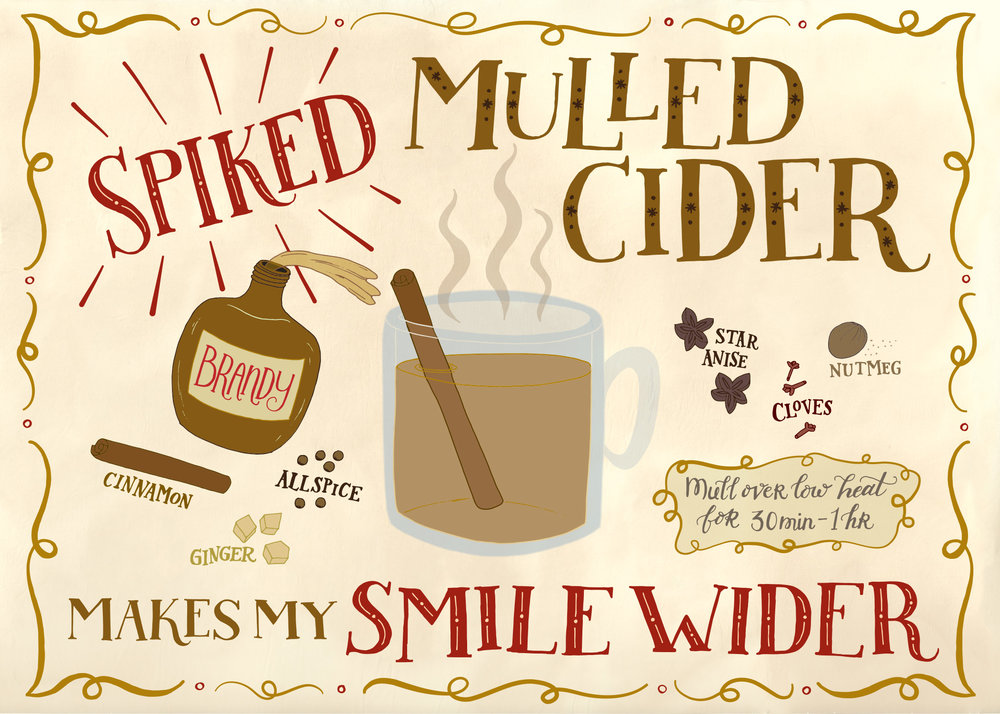 Completed recipe. Drawn by hand, inked by hand on paper, scanned in and vectorized in Adobe Illustrator, and then colorized on the computer.